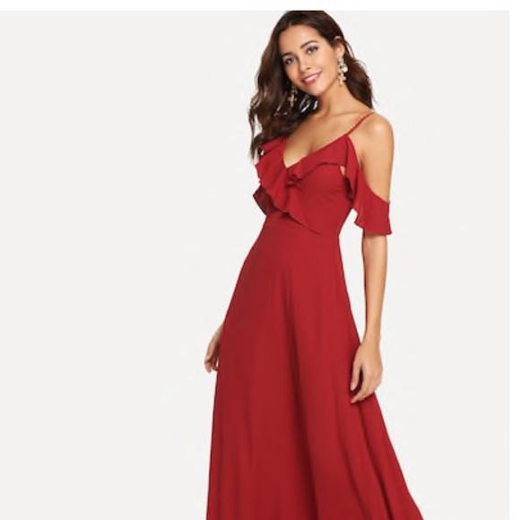 c0321d8c14 SHEIN Dresses | Red Ruffle Cold Shoulder Maxi Dress | Poshmark